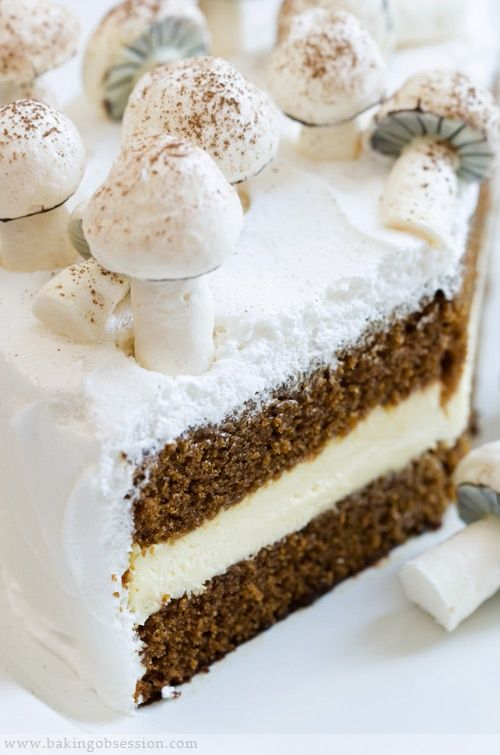 gingerbread cake with mushrooms
