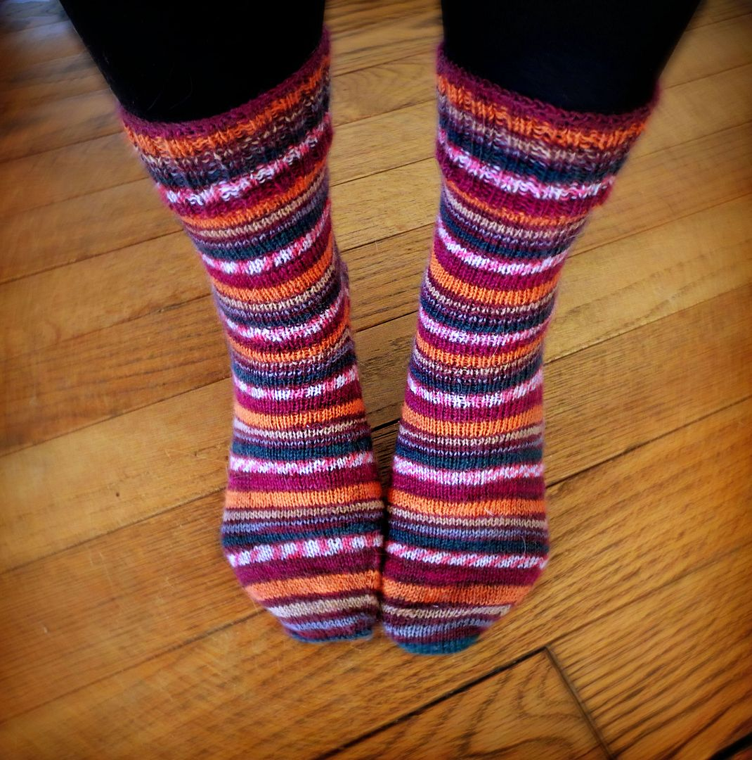 hand knit self-striping socks